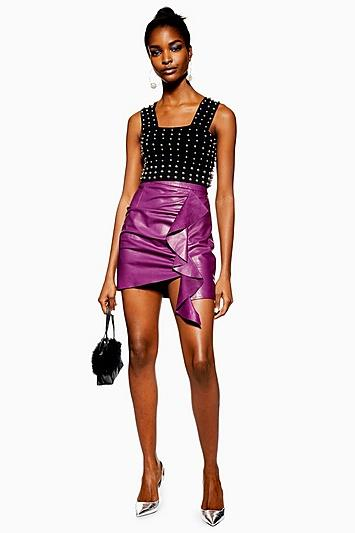 Topshop Ruched Leather Mini Skirt
