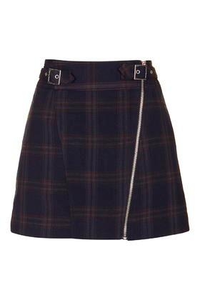 Topshop Tall Check Biker Skirt