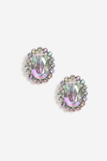 Topshop Oval Crystal Stud Earrings