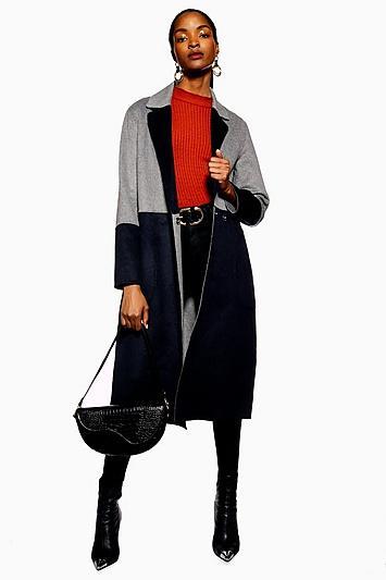 Topshop Reversible Colourblock Coat