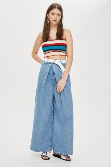 Topshop Moto Bleach Wrap Belted Wide Leg Jeans