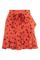 Topshop Red Flower Ruffle Mini Skirt