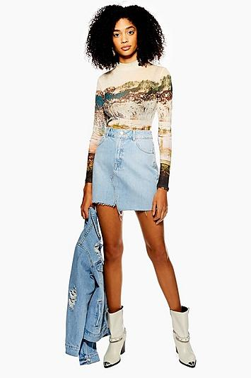 Topshop Tall Asymmetric Denim Mini Skirt