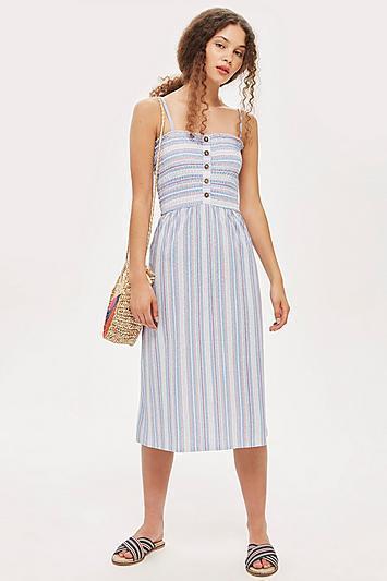 Topshop Tall Striped Shirred Midi Dress