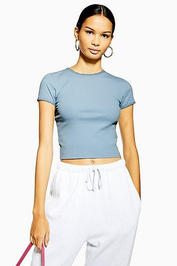 Topshop Blue Picot Trim T-shirt