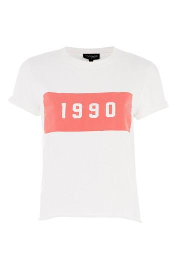 Topshop Tall '1990' Motif Crop T-shirt