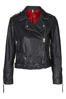 Topshop Distressed Belted Leather Jacket
