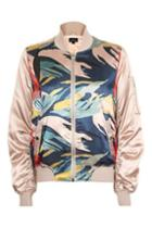 Topshop Printed Shiny Ma1 Jacket