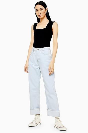 Topshop *bleach Straight Leg Jeans By Boutique