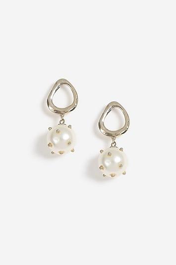 Topshop Stud Pearl Drop Earrings