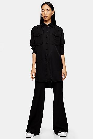*black Longline Oversized Shirt By Topshop Boutique