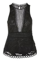 Topshop Lace Peplum Shell Top