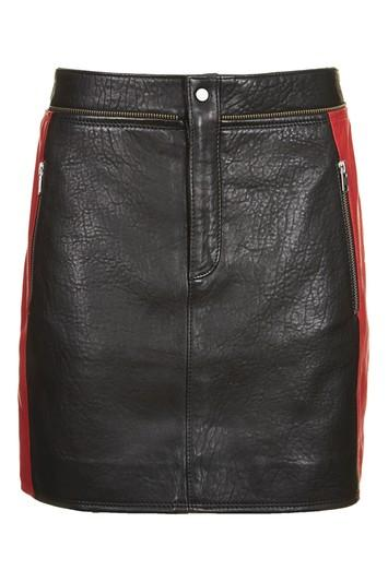 Topshop Leather Colourblock Biker Skirt