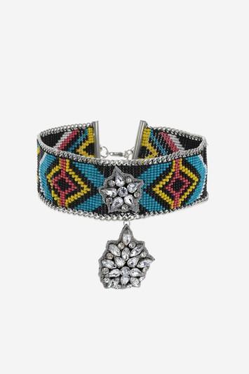 Topshop Seed Bead Rhinestone Drop Choker Necklace
