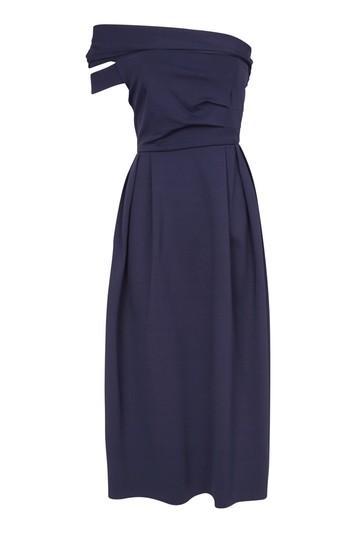 Topshop Bardot One Shoulder Midi Dress