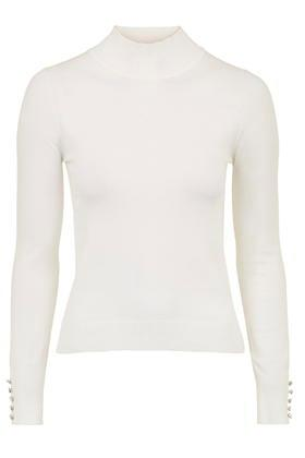 Topshop Button Cuff Funnel Neck Sweater