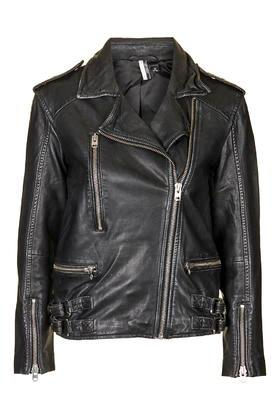 Topshop Distressed Leather Biker Jacket