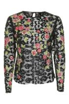 Topshop Animal Embroidery Top