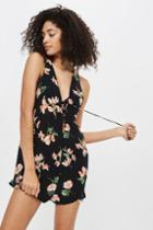 Topshop Floral Lace Up Playsuit