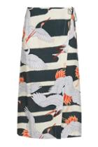Topshop Heron Print Wrap Skirt