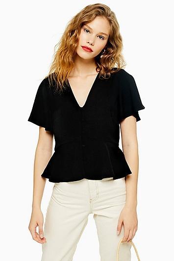 Topshop Button Down Short Sleeve Blouse