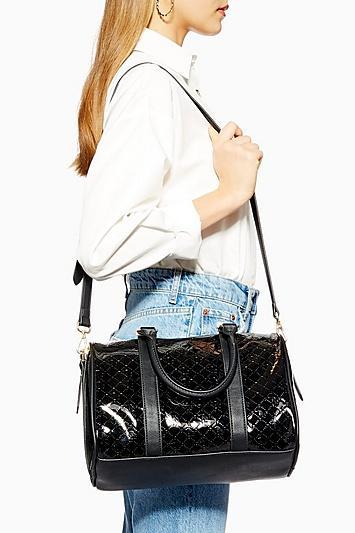 Topshop Madrid Medium Patent Bowler Bag