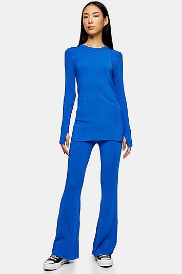 *cobalt Blue Crew Neck Slit Jumper By Topshop Boutique