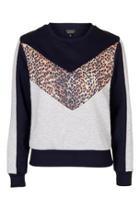 Topshop Animal Colourblock Sweatshirt