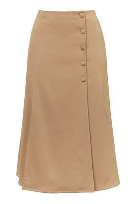 Topshop Button Split Midi Skirt