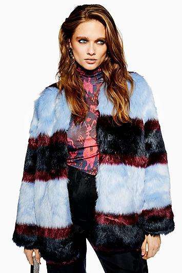 Topshop *colour Block Faux Fur Jacket By Yas