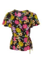 Topshop Bright Floral Wrap Blouse