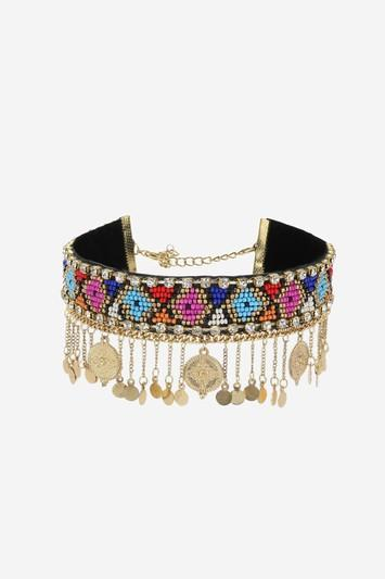 Topshop Seed Bead Coin Drop Choker Necklace