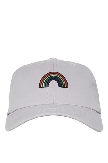 Topshop Rainbow Embroidered Washed Cap