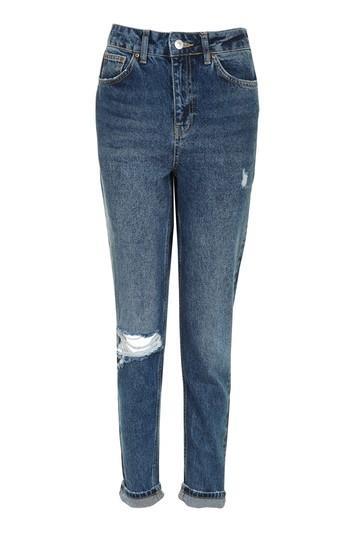 Topshop Moto Dark Blue Ripped Mom Jeans