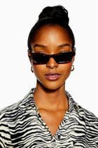 Topshop Vera Slim Tortoiseshell Sunglasses