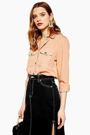 Topshop Side Split Denim Midi Skirt