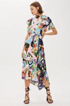 Topshop Floral Print Cowl Back Midi Dress