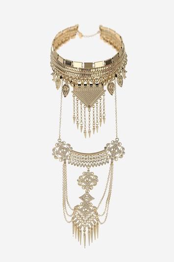 Topshop Engraved Drop Choker Necklace
