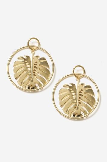 Topshop Leaf Drop Hoop Earrings
