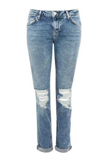 Topshop Moto Mid Blue Ripped Lucas Jeans