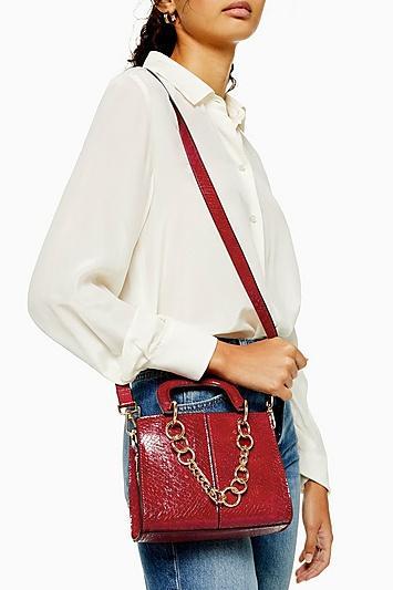Topshop Case Red Mini Crocodile Cross Body Bag
