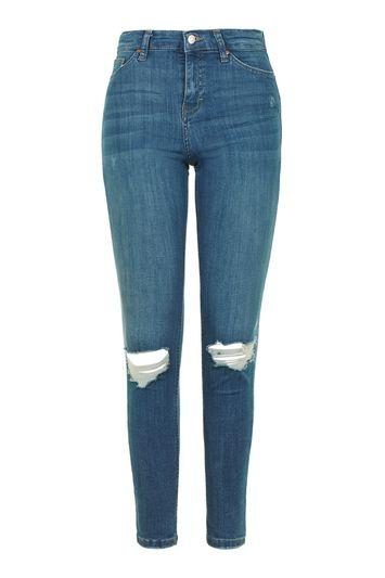 Topshop Moto Authentic Blue Ripped Jamie Jeans