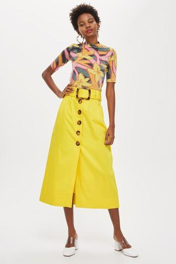 Topshop Buckle Button Midi Skirt