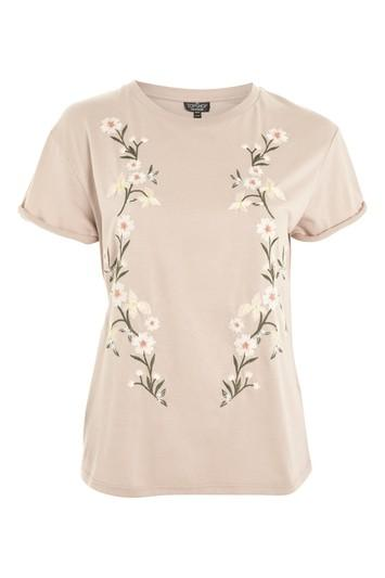 Topshop Tall Flower Embroidered T-shirt