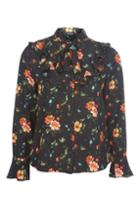 Topshop Floral Pussybow Shirt