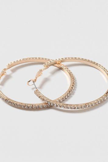 Topshop Rhinestone Hoop Earrings