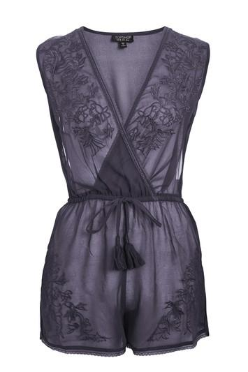 Topshop Mesh Embroidered Playsuit