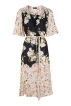 Topshop Floral Print Belted Wrap Dress