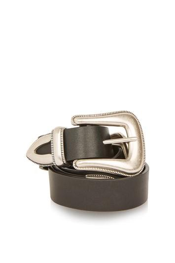 Topshop Black Clean Double Buckle Western Belt