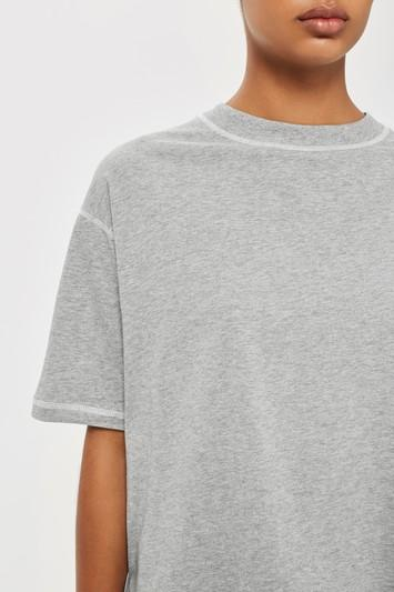 Topshop Contrast Stitch Boyfriend T-shirt By Boutique